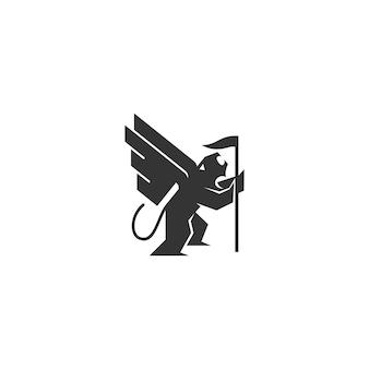 Lion wing flag template illustration emblem maskottchen isoliert
