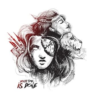 Lion woman tattoo hand gezeichnete skizze vektor-illustration