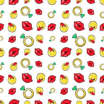 Lippen diamanten und emoticons nahtloses muster. mode-hintergrund im retro-comic-stil. illustration