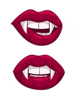 Lippen mit vampirzähnen.