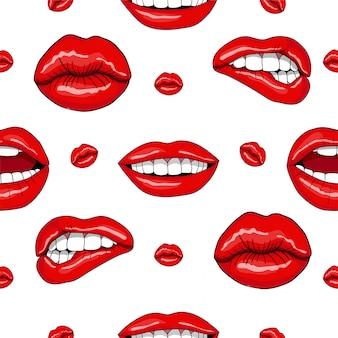 Lippen nahtlose muster im retro-pop-art-stil