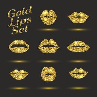 Lippen-set design-element glitzert