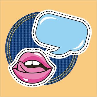 Lippen weibliche zunge aus sprechblase