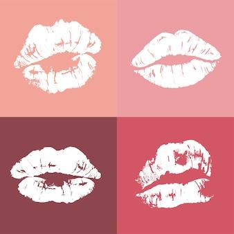 Lippenabdruck im pinup-stil