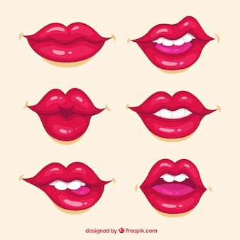 Lippensammlung mit roter farbe
