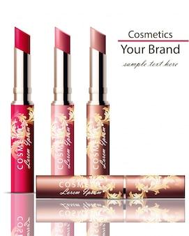 Lippenstift-kosmetik-set sammlung realistisch mock-up. ornament dekor verpackung original-designs