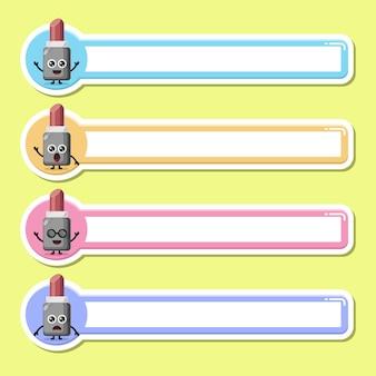 Lippenstift-label-namensschild süßes charakter-maskottchen
