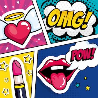 Lippenstift mit ausdrücken und herz-pop-art-stil