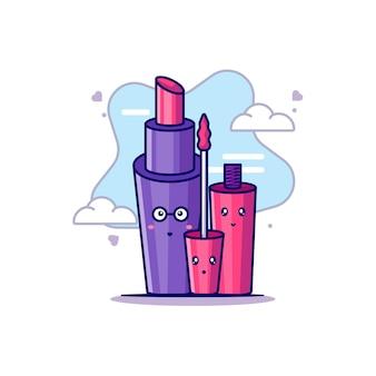 Lippenstift und lipgloss zur frauentags-vektor-symbol-illustration