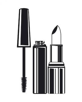 Lippenstift und wimpern bilden das produkt