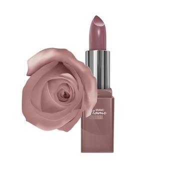 Lippenstift von hautfarbe und rose, realistischer lippenstift isoliert