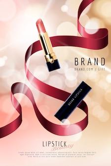 Lippenstiftanzeigen mit dekorativen bändern auf selektivem fokushintergrund