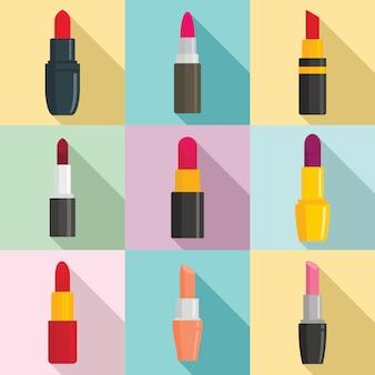 Lippenstiftikonen eingestellt, flache art