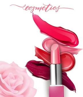 Lippenstiftnahaufnahme und schmiert lippenstift auf weißem hintergrund realistische modellvektorillustration