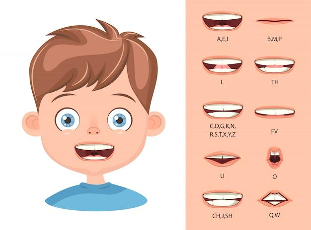 Lippensynchronisation der kinder, alphabetaussprache.
