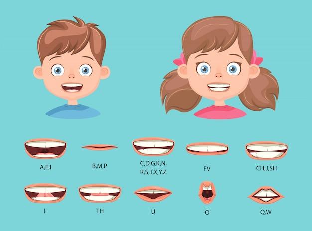 Lippensynchronisation für kinder, aussprache des alphabets.