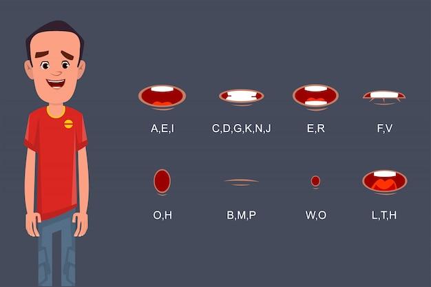Lippensynchronisationssammlung für zeichentrickfiguranimation oder -bewegung