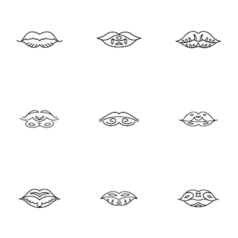 Lippenvektorsatz. einfache abbildung der lippenform, bearbeitbare elemente, kann im logo-design verwendet werden