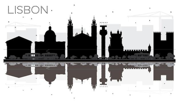 Lissabon city skyline schwarz-weiß-silhouette mit reflexionen. vektor-illustration. stadtbild mit wahrzeichen.