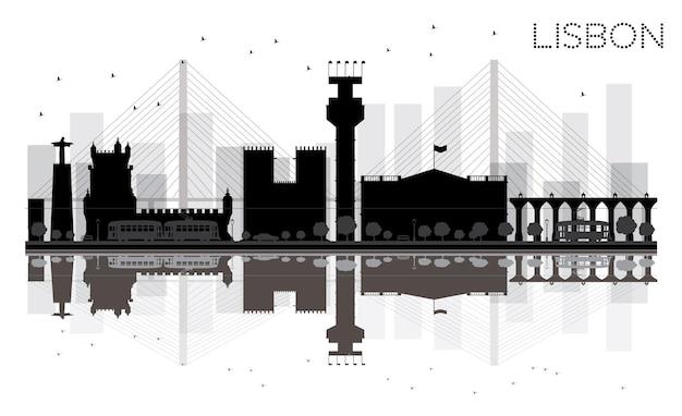 Lissabon city skyline schwarz-weiß-silhouette mit reflexionen vektor-illustration