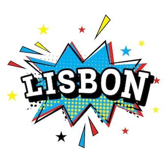 Lissabon. comic-text im pop-art-stil. vektorillustration