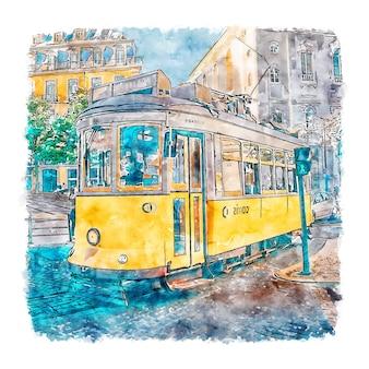 Lissabon portugal aquarellskizze handgezeichnete illustration