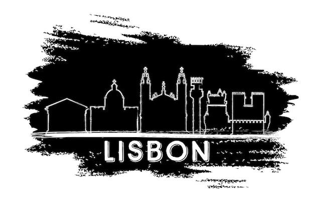 Lissabon portugal city skyline silhouette. handgezeichnete skizze. vektor-illustration. geschäftsreise- und tourismuskonzept mit historischer architektur. lissabon-stadtbild mit sehenswürdigkeiten.