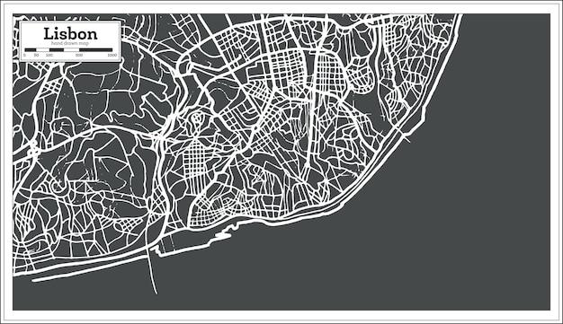 Lissabon portugal karte im retro-stil. vektor-illustration.