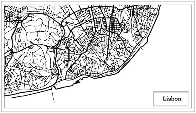 Lissabon portugal karte in schwarz-weiß-farbe. vektor-illustration.