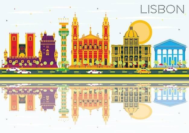 Lissabon-skyline mit farbgebäuden, blauem himmel und reflexionen. vektor-illustration. geschäftsreise- und tourismuskonzept mit historischer architektur. bild für präsentationsbanner-plakat und website.