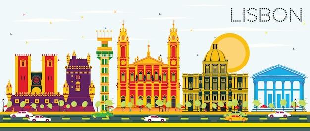 Lissabon-skyline mit farbgebäuden und blauem himmel. vektor-illustration. geschäftsreise- und tourismuskonzept mit historischer architektur. bild für präsentationsbanner-plakat und website.