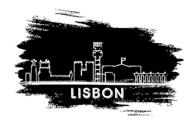 Lissabon-skyline-silhouette. handgezeichnete skizze. geschäftsreise- und tourismuskonzept mit historischer architektur. bild für präsentationsbanner-plakat und website. vektor-illustration.