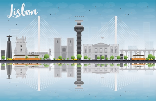 Lissabon-stadtskyline mit grauen gebäuden und blauem himmel