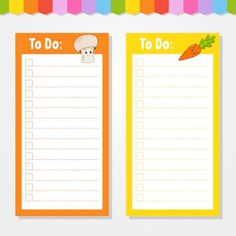 Liste für kinder zu tun. leere vorlage. die rechteckige form.