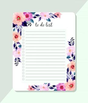 Liste mit blauen und rosa aquarellblumen zu tun