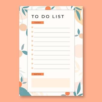 Liste mit orangefarbenem und blauem hintergrund