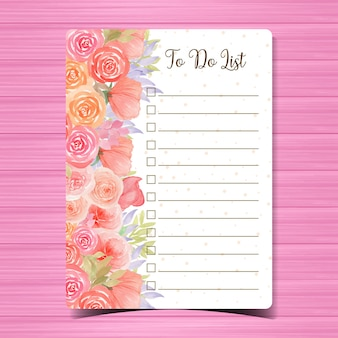 Liste mit wunderschönen aquarellblumen zu tun