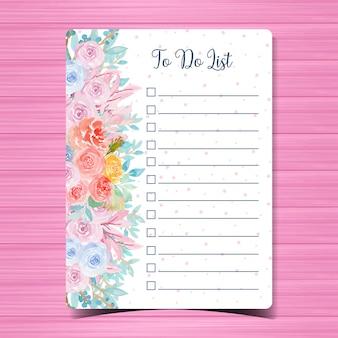 Liste notizblock mit wunderschönen aquarell blumen zu tun