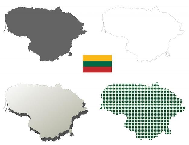 Litauen-vektorumreißkartensatz