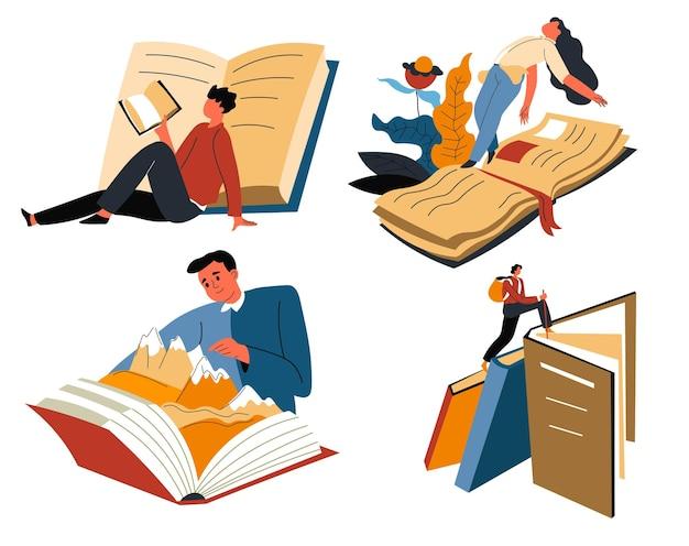 Literatur lesen und welten entdecken vector
