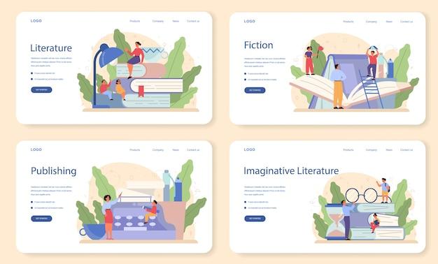Literaturschulfach webbanner oder landingpage-set. webinar, kurs und lektion. idee von bildung und wissen. studiere alten schriftsteller und modernen roman.