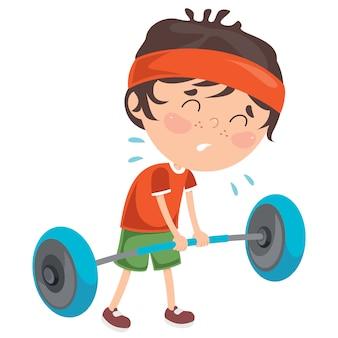 Little boy, das gewichthebenübung bildet