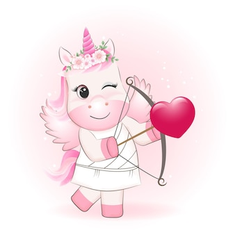 Little cupid einhorn und herz valentinstag konzept