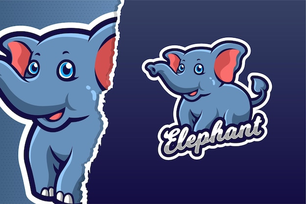 Little elephant mascot game logo vorlage