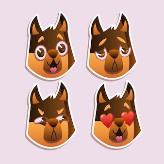 Little pet pug dog welpe mit halsband-sammlung von emoji-gesichtsausdrücken