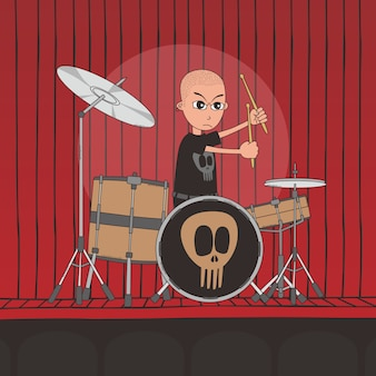 Live-band junge cartoon charakter thema vektor-illustration