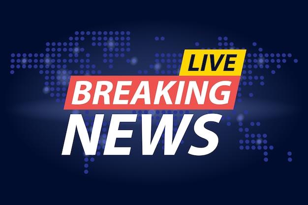 Live breaking news überschrift in blau gepunkteten weltkarte hintergrund. illustration.