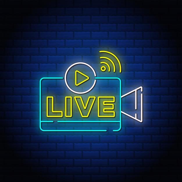Live button leuchtreklamen stil text.