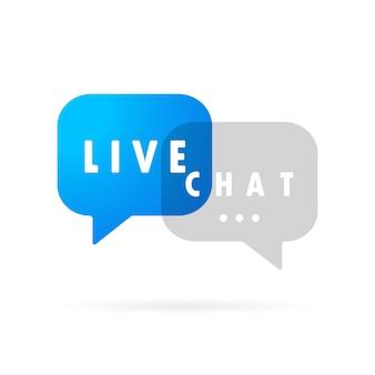 Live-chat-banner. nachrichtensymbol im flachen design. kommunikation. gesprächszeichen. vektor auf weißem hintergrund isoliert. eps 10.