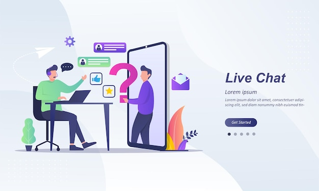 Live-chat-operator mit headset, der live-feedback gibt